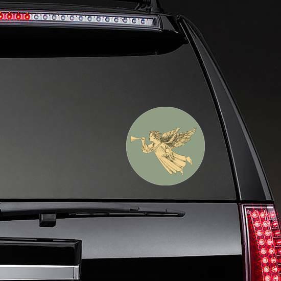 Retro Style Christmas Angel Sticker on a Rear Car Window example