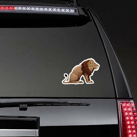 Profile Of Sitting Lion Sticker on a Rear Car Window example