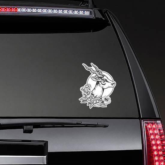 Antelope Head Animal Floral Illustration Sticker