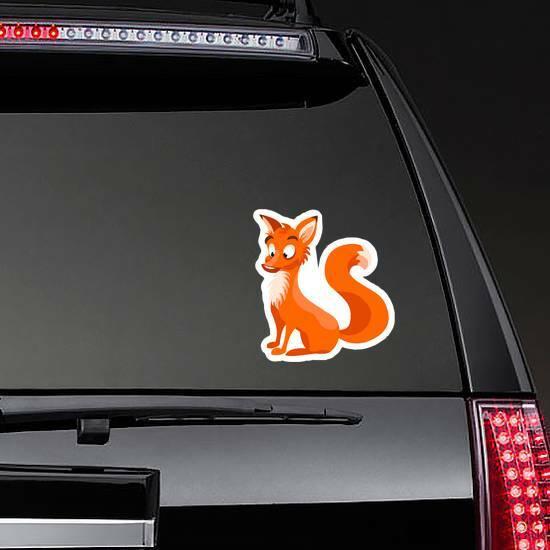 Surprised Cartoon Fox Sticker on a Rear Car Window example