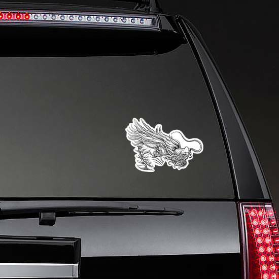 Hand Drawn Style Chinese Dragon Sticker on a Rear Car Window example