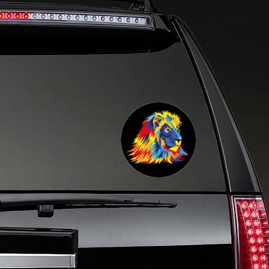 Lion With Bright Colors Sticker on a Rear Car Window example