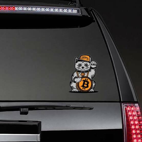 Lucky Cat Bitcoin Sticker on a Rear Car Window example