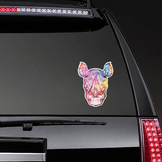 The Head Of A Rhinoceros Colorful Paint Sticker example