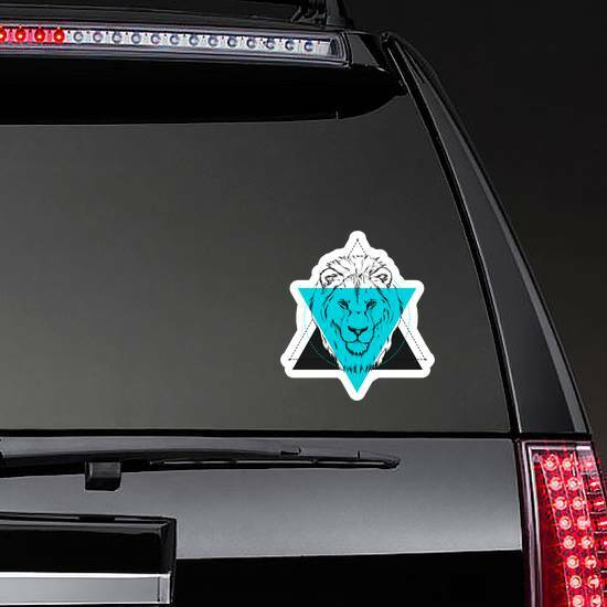 Triangle Lion Illustration Sticker on a Rear Car Window example