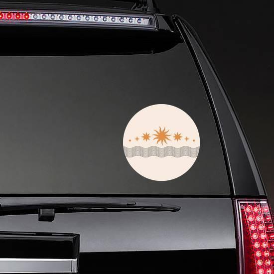 Bohemian Sun and Line Design Sticker