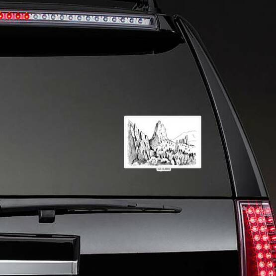 Garden Of Gods Colorado Sketch Sticker on a Rear Car Window example