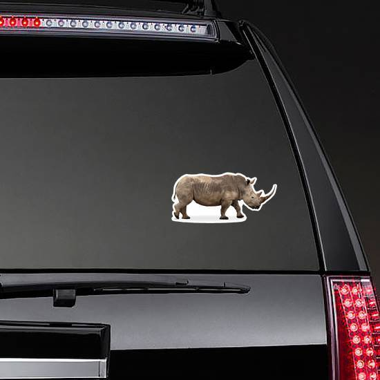 African Southern White Rhino With Large Pointy Horn Sticker example