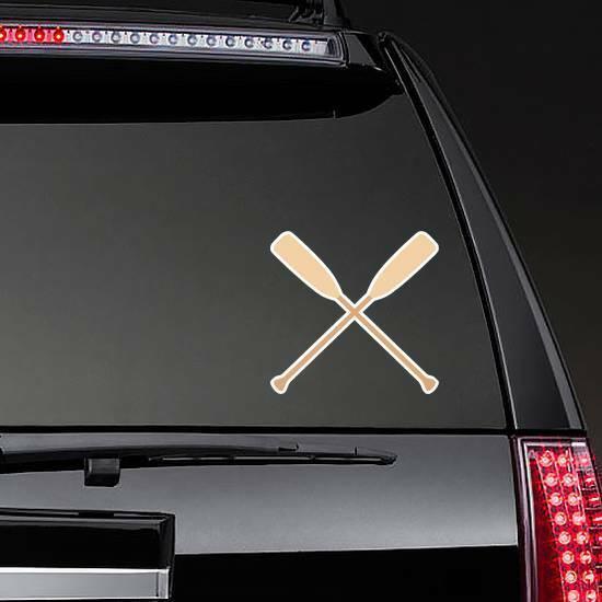 Two Wooden Crossed Oars Rowing Sticker on a Rear Car Window example