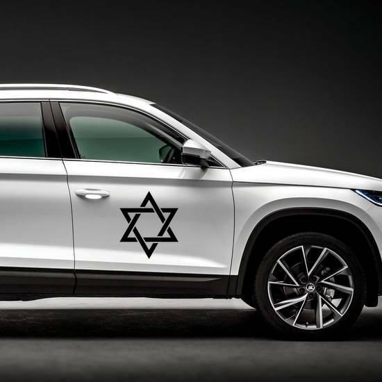 Star of David Sticker on a Car Side example