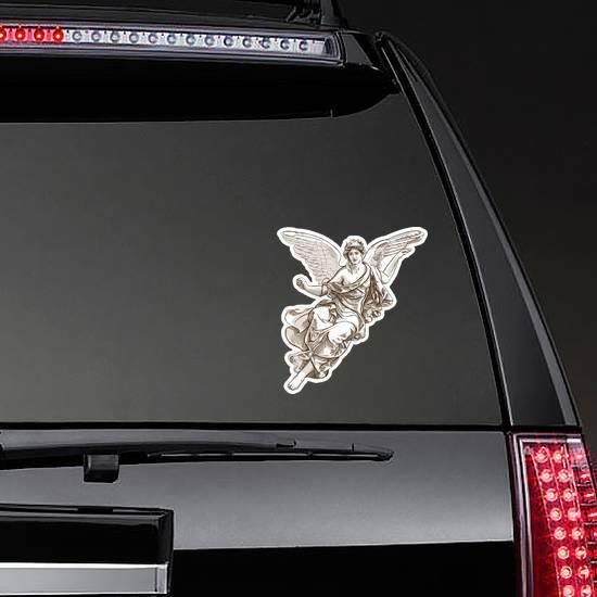 Beautiful Angel Muse Illustration Sticker on a Rear Car Window example