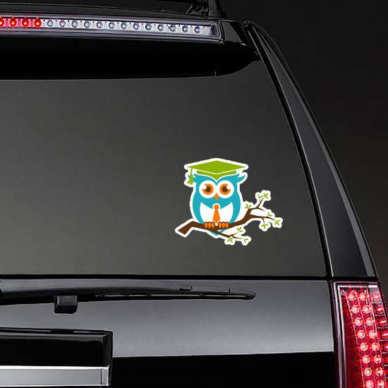 Smart Owl With Tie On A Branch Sticker on a Rear Car Window example