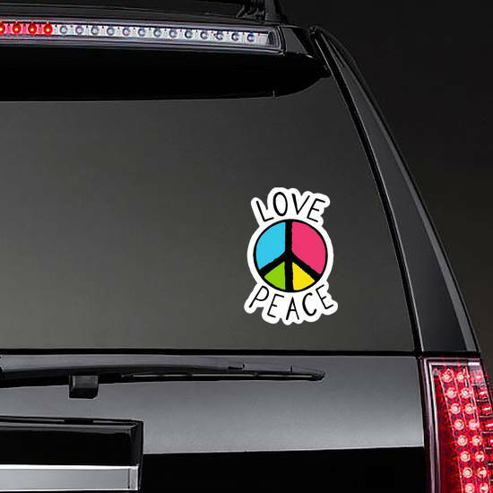 Love And Peace Colorful Hippie Sticker on a Rear Car Window example