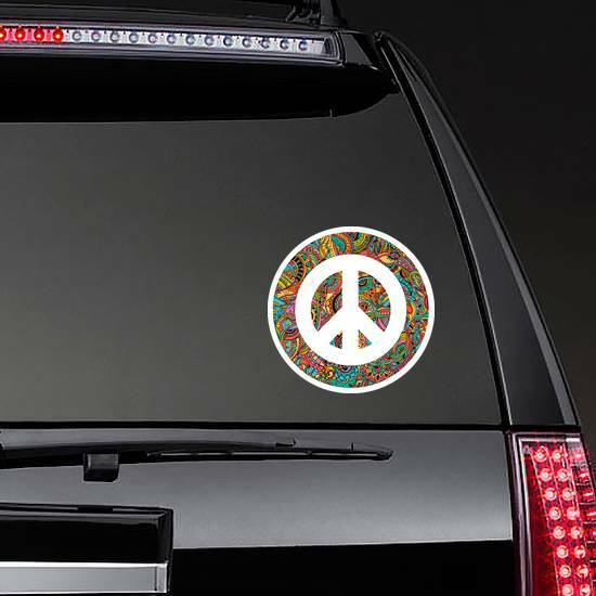 Hippie Style Ornamental Watercolor Peace Sign Sticker on a Rear Car Window example