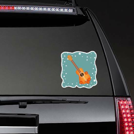 Guitar With Flowers and Stars Hippie Culture Sticker on a Rear Car Window example