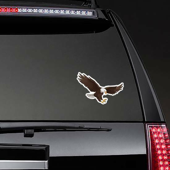 Majestic Hunting Eagle Sticker on a Rear Car Window example
