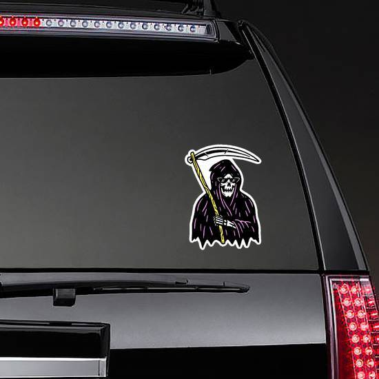 Grim Reaper With Scythe In Color Sticker example