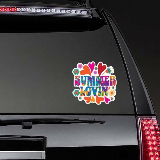 Hippie Summer Lovin Sticker on a Rear Car Window example