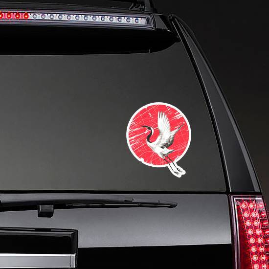 Japanese Watercolor Crane Bird On A Red Circle Sticker example