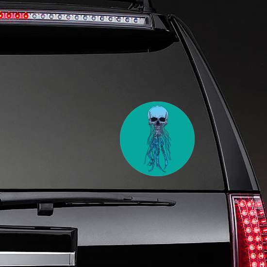 Vintage Drawing Jellyfish Skull On Blue Sticker