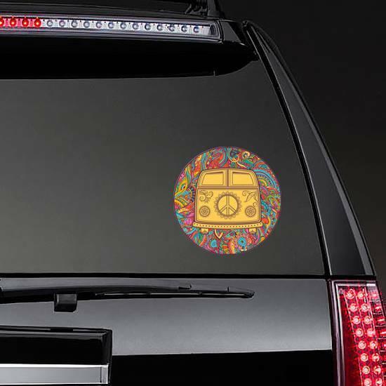 Hippie Vintage Mini Van Circle Sticker on a Rear Car Window example