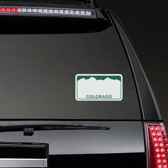 License Plate Of Colorado Illustration Sticker on a Rear Car Window example