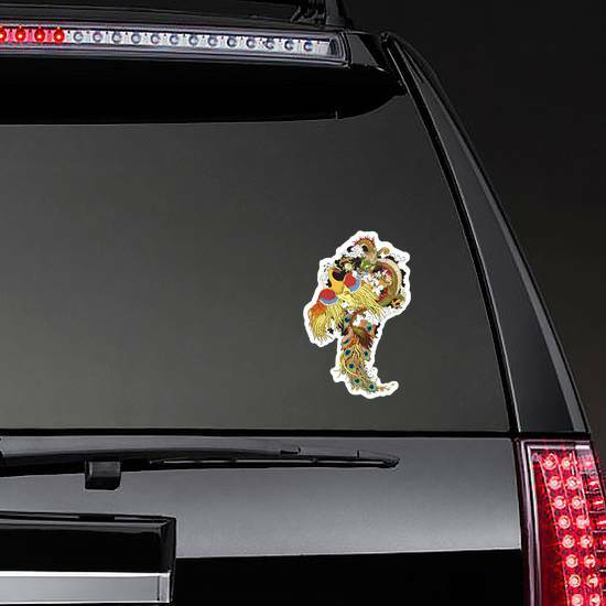 Chinese Jade Dragon And Golden Phoenix Feng Huang Sticker on a Rear Car Window example