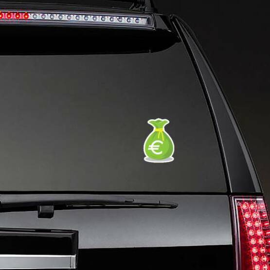 Green Euro Money Bag Sticker on a Rear Car Window example