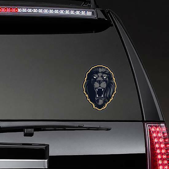 Roaring Lion Head Mascot Mascot Sticker on a Rear Car Window example
