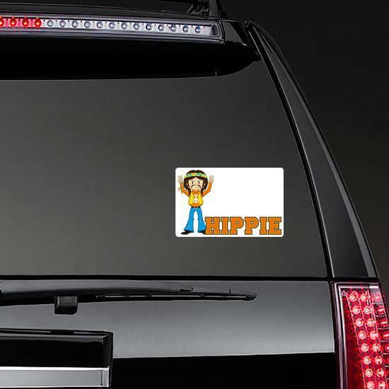 Cute Cartoon Hippie Man Sticker on a Rear Car Window example