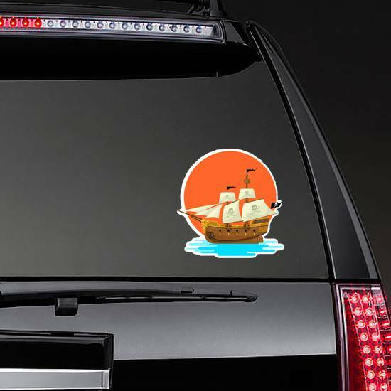 Pirate Ship at Sunset Sticker on a Rear Car Window example