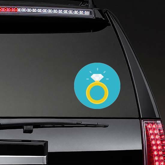 Gold Diamond Ring Sticker on a Rear Car Window example