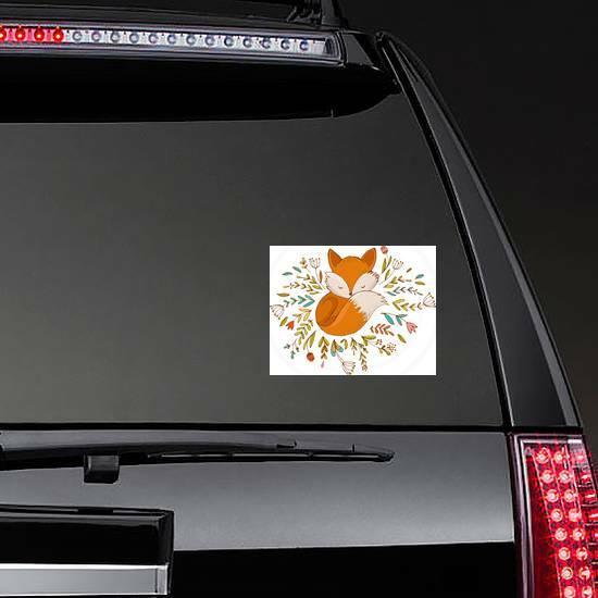 Fox Sleeping On Flowers Sticker on a Rear Car Window example