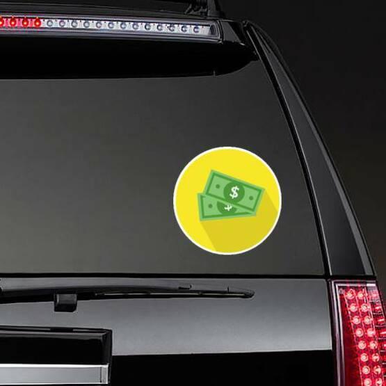 Dollar Bills Yellow Circle Sticker on a Rear Car Window example