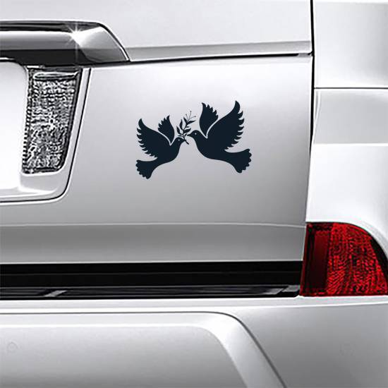Free Flying Doves Symbol With Branch Sticker example