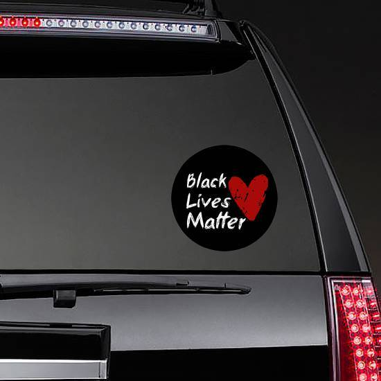 Black Lives Matter Red Heart Sticker example