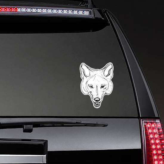 Stylized Face Of Coyote Sticker example