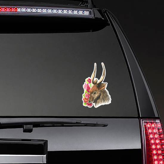 Cute Watercolor Antelope Among Big Red Flowers Sticker