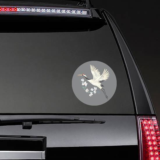 Crane, Illustration, Bird In Flight Design On Grey Sticker example