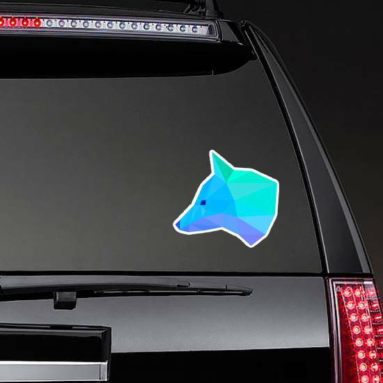 Blue Geometric Fox Head Sticker on a Rear Car Window example
