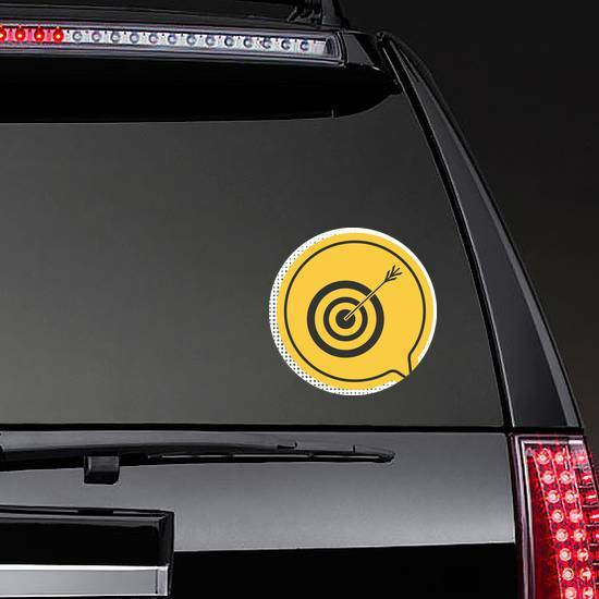 Black Target With Arrow Archery Icon Yellow Sticker example