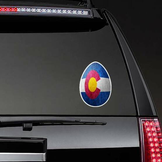 Colorado State Flag Easter Egg Sticker on a Rear Car Window example