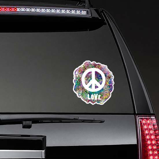 Decorative Hippie Love Peace Sticker on a Rear Car Window example