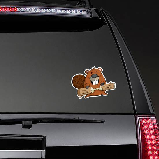 Cartoon Beaver With A Piece Of Wood Sticker