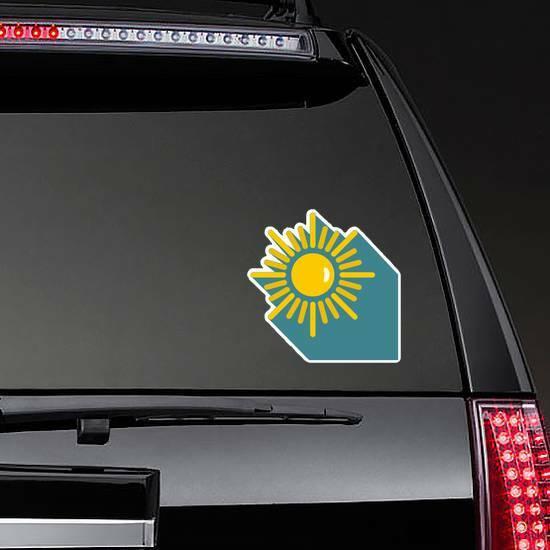 Sun with Shadow Sticker on a Rear Car Window example