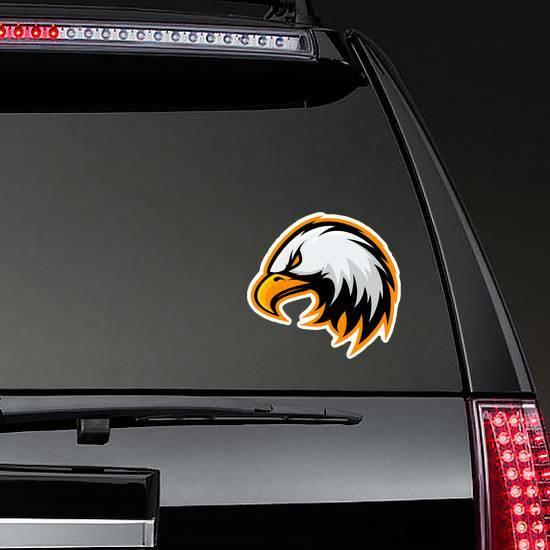 Furious Eagle Mascot Sticker on a Rear Car Window example