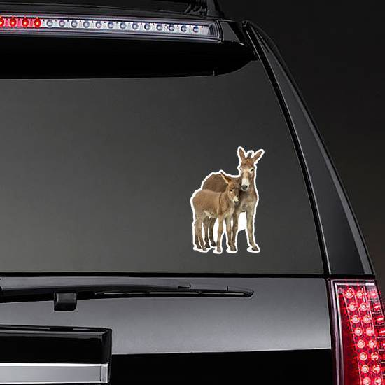 Mother Provence Donkey And Her Foal Sticker