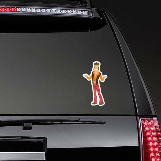 Pointing Hippie Man Sticker on a Rear Car Window example