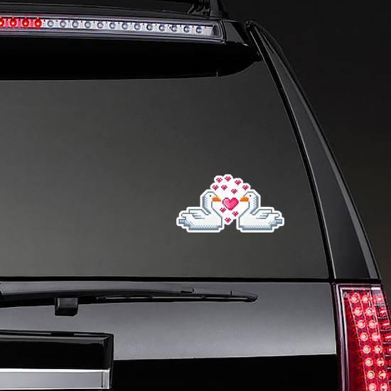 Swans Pixel Art In Love Sticker example