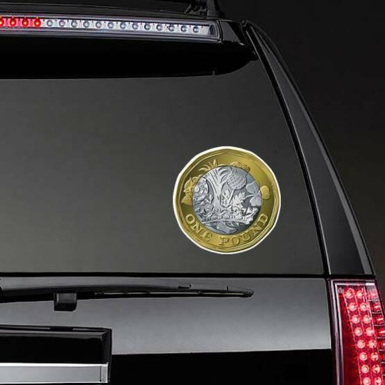 British One Pound Sticker on a Rear Car Window example